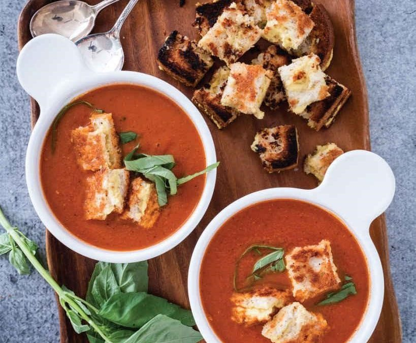Creamy Roasted Garlic–Tomato Soup with Grilled Cheese Croutons